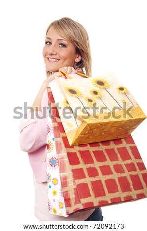 Young girl going shopping