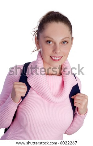 young girl going to school - stock photo