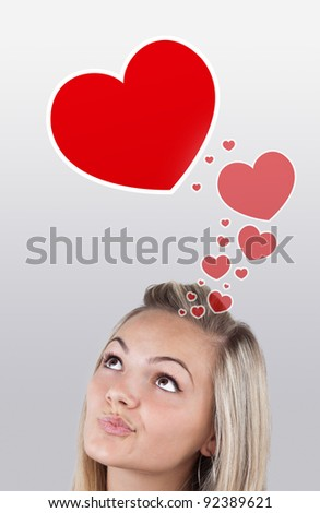 Young girl head looking with gesture at love signs