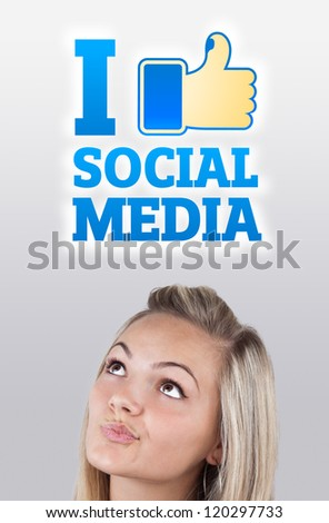 Young girl head looking with gesture at social type of icons and signs