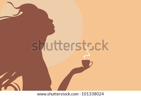 young girl hold in hands cup of hot coffee - stock photo