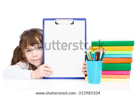 young girl holding clipboard with blank paper. isolated on white background - stock photo