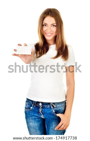 young girl holding empty card isolated on a white background