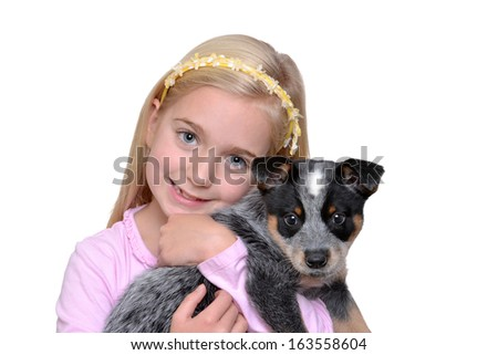 young girl holding pet puppy isolated white background - stock photo