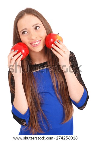 Young girl holds near the face apples isolated on white - stock photo