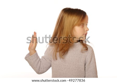 Young girl ignoring - stock photo