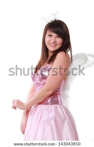 Young girl in a beautiful fancy dress on white background/Woman with a lovely smile in a beautiful dress with wings on a white background