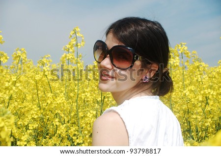 Young girl in a flower field