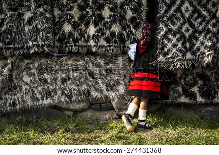 young girl in a traditional costume of maramures, landscape image