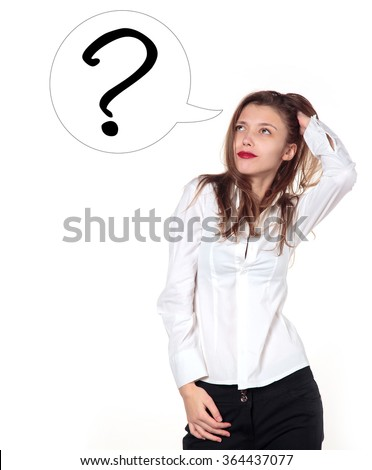 Young girl in a white shirt blouse on a light background. Woman looking up. Question. Thinking smiling woman with questions mark above head looking up.