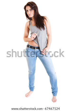 young girl in blue jeans - stock photo