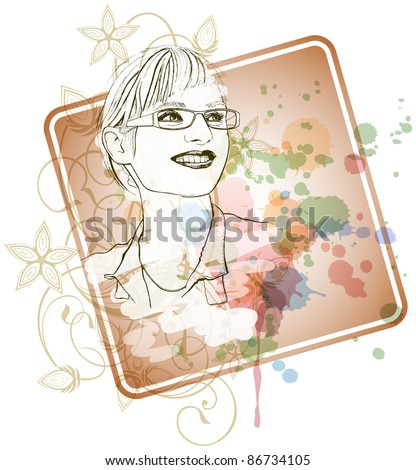 Young girl in glasses with a smile. Bitmap copy my vector ID 71103514 - stock photo