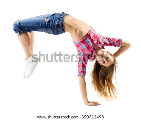 Young girl in jeans modern dancer isolated - stock photo