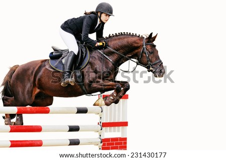 Young girl in jumping show, isolated on white background