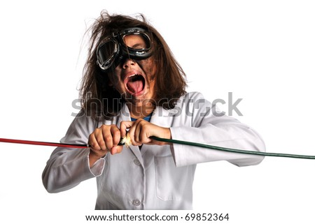 Young girl in laboratory gear being shocked by electricity isolated over white background - stock photo