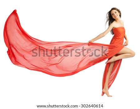 Young girl in long red cloth isolated (normal version) - stock photo