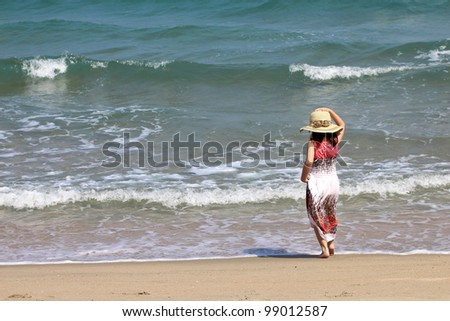 young girl in on the sea