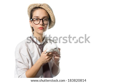 young girl in strict glasses and straw hat on his head with a white rat in the hands of - stock photo