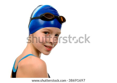 Young girl in swimsuit ready for contest over white background - stock photo