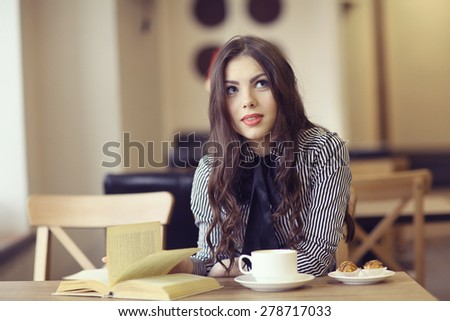 young girl in the cafe, book, reading, coffee