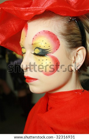 young girl in the studio make-up - stock photo