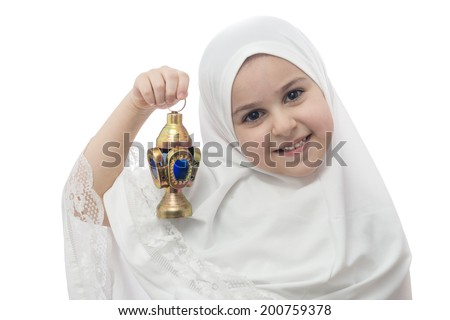 Young Girl  in White Hejab with Ramadan Lantern Isolated on White Background - stock photo