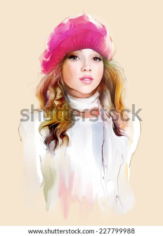 young girl in winter pink hat