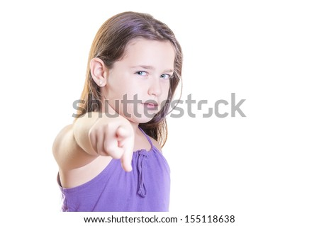 Young girl is expresses emotions on isolated background