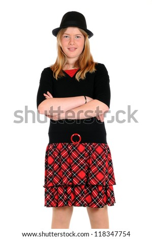 Young girl is looking at the camera - stock photo