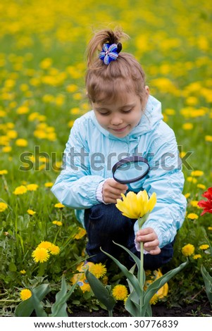 Young girl is looking through a magnifying glass and researching a flower - stock photo