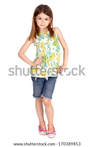 young girl isolated in white