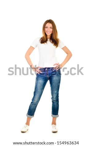 young girl isolated on a white background - stock photo