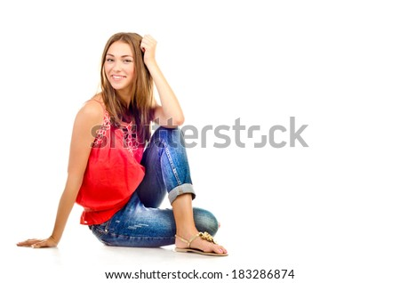 young girl isolated on a white background
