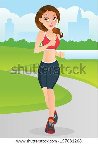 Young girl jogging in the park - stock photo
