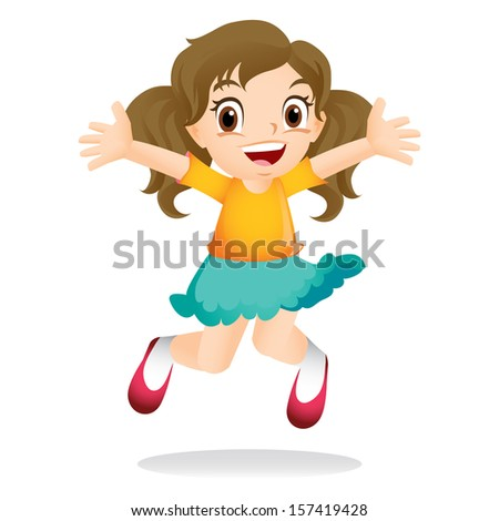 Young girl jumping excitedly - stock photo
