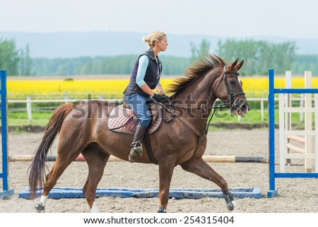 Young girl jumping with horse