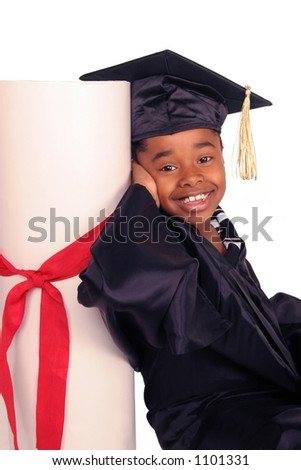 young girl leaning on her diploma - stock photo