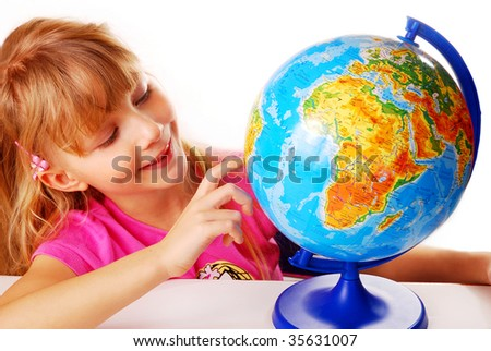 young girl learning with globe