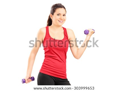 Young girl lifting dumbbells isolated on white background