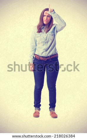 young girl loser gesture. isolated - stock photo
