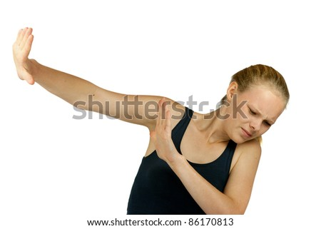 Young  girl making stop gesture on white background - stock photo