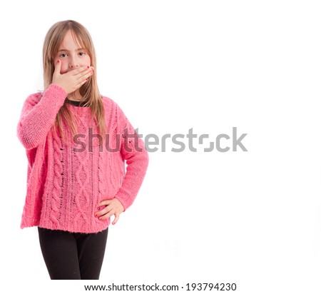 Young girl mischief gesture - stock photo