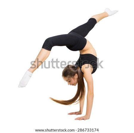 Young girl modern dancer isolated - stock photo