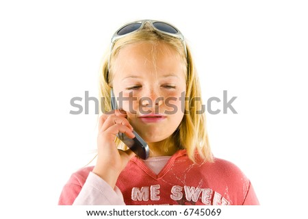 Young girl on a mobile phone, confused and cute