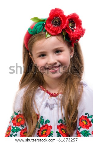 young girl on a white background in the studio - stock photo