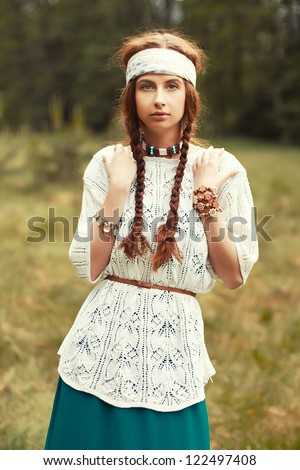 Young girl outdoor portrait. - stock photo