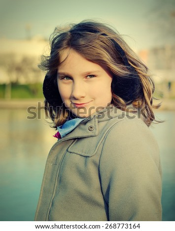 Young girl. Outdoors scenery. - stock photo