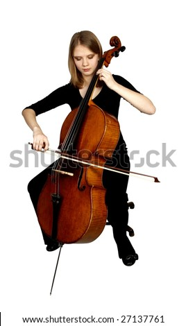 young girl playing cello on white background - stock photo