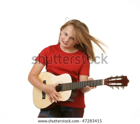 young girl playing the guitar on white background
