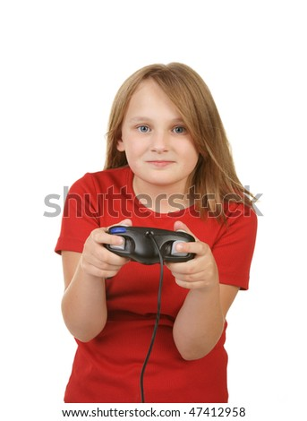 young girl playing video games on white - stock photo